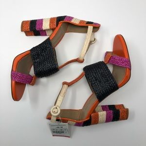 NWT Zara Color Blocked High Heel Woven Sandals 7.5